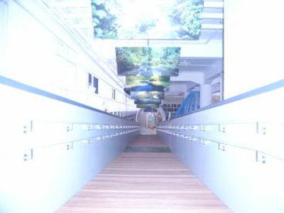 豊平川ウォーキング:水源の写真を見ながら水工場へと続きます。