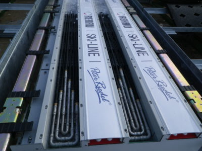 クーリングシステムの配管設備です。冬期間はこの配管の中を通る冷媒によりトラック面を冷却し氷を作ります。