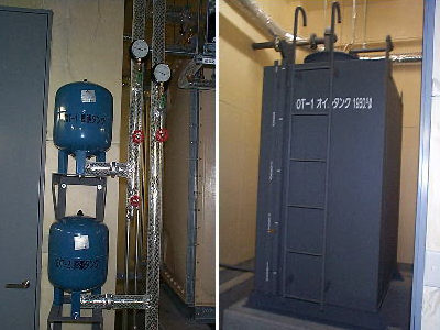 地下機械室:膨張タンク、オイルタンク